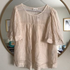 GAP blush pink blouse with gold lines